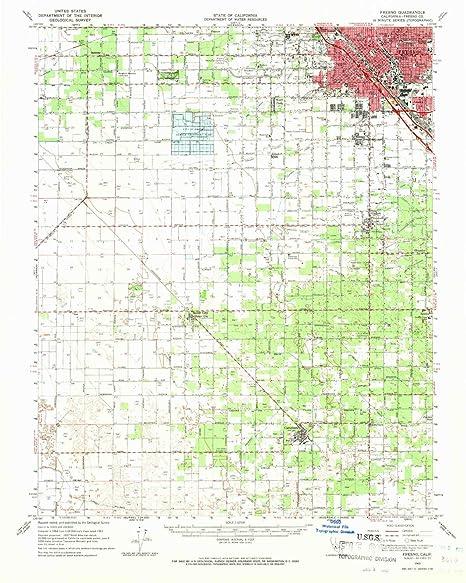 Map Of California Fresno.Amazon Com Yellowmaps Fresno Ca Topo Map 1 62500 Scale 15 X 15
