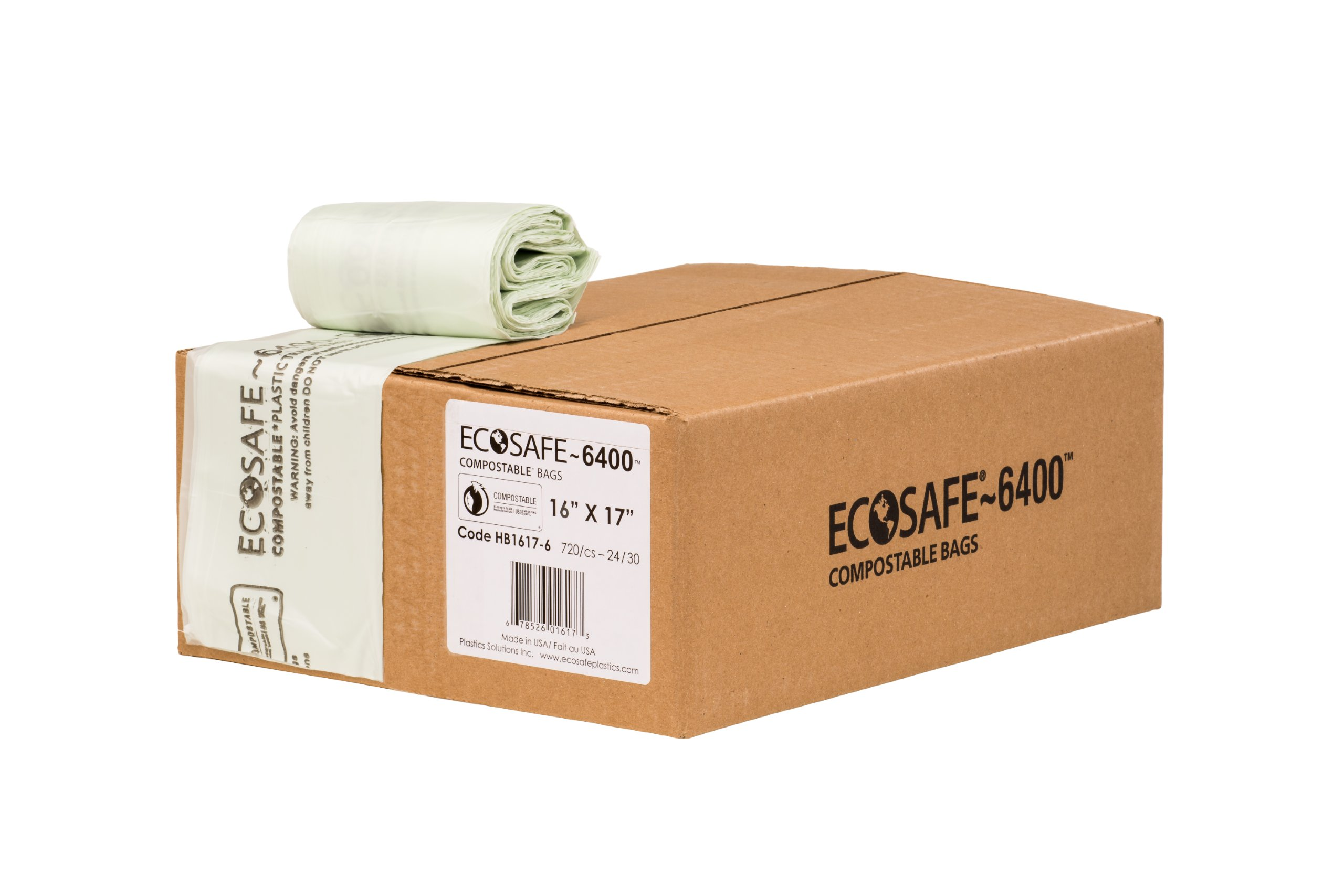 EcoSafe-6400 HB1617-6 Compostable Bag, Certified Compostable, 2.5-Gallon, Green (Pack of 720)