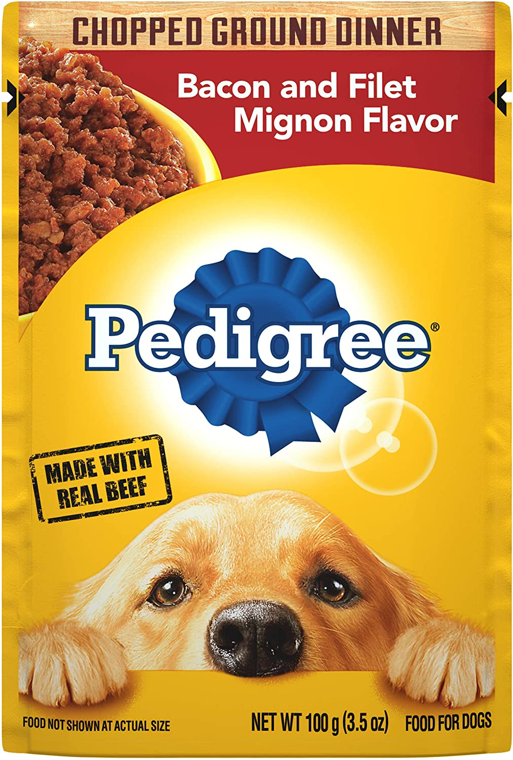 PEDIGREE Adult Wet Dog Food Chopped Ground Dinner Bacon and Filet Mignon Flavor, (16) 3.5 oz. Pouches