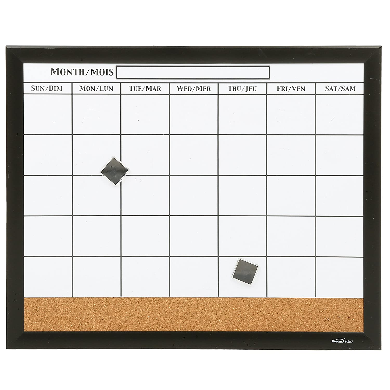 20 X 16 inch Magnetic Message Whiteboard Monthly Calendar with Cork Memo Board & Black Wood Frame