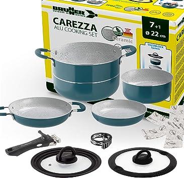 Brunner- Outdoor in Motion - Juego de utensilios de cocina para camping (cerámica, ollas y sartenes, 22 cm de diámetro, revestimiento Carezza, ligero, ...