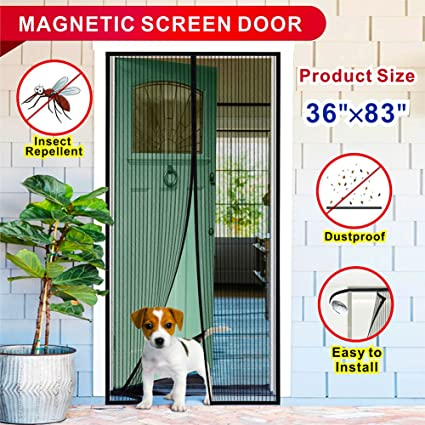 Magnetic Screen Door With Full Frame Velcro Hands Free Reinforced