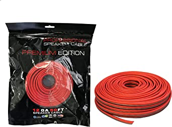 Absolute USA SWS12R25 Professional Premium Speaker Wire 12 Ga 25 Clear Red and Brown