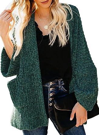Overcoat for Women Casual Long Sleeve Open Front Sweater Pockets Soft Velvet Chenille Cardigans Outerwear