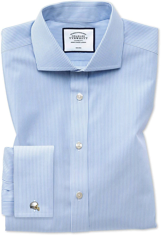 Charles Tyrwhitt Camisa Azul Celeste Slim fit a Rayas de Bengala con Cuello Italiano