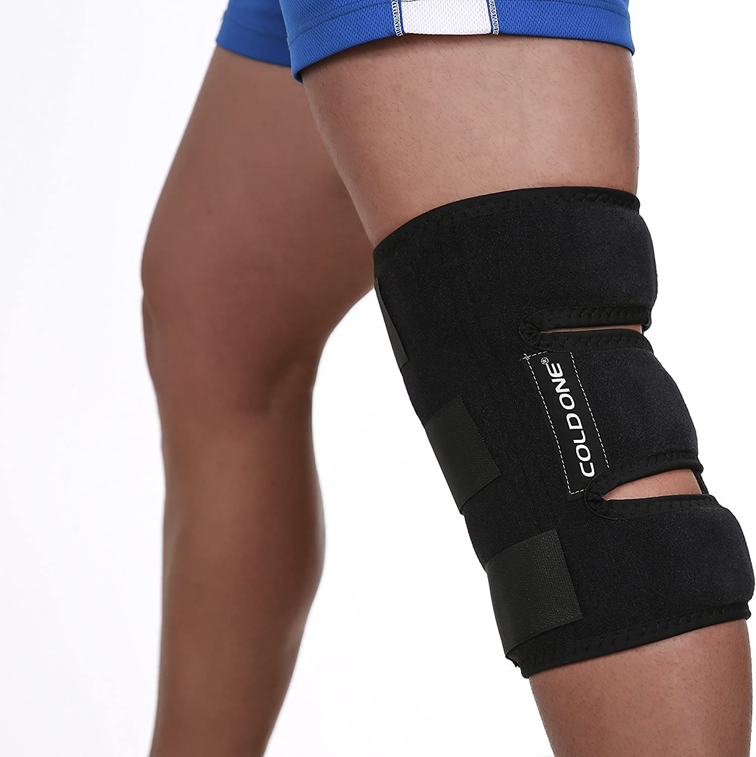 Knee Ice Pack Soft Brace + Compression for Post Knee Surgery, Knee Injuries, Fast Pain Relief, 360º Coverage, Oº C 15-20 Minutes Icing Recommended by Ortho MDs as Safe and Effective. Universal Size, USA