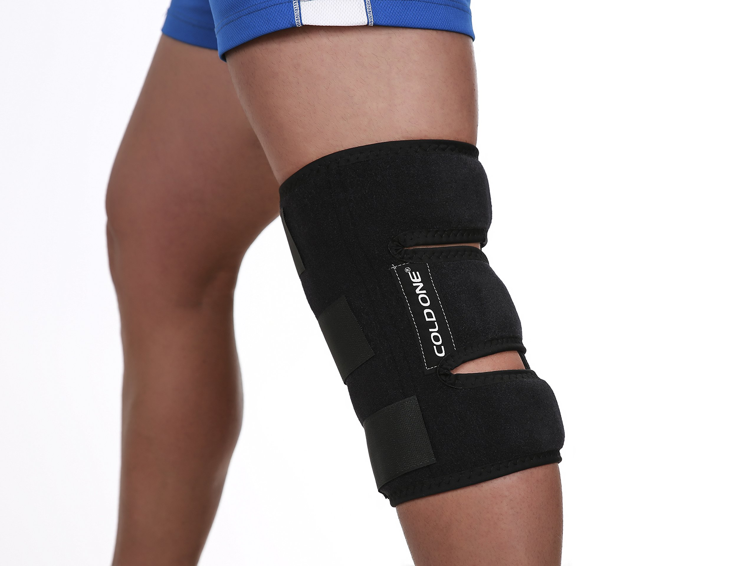 Knee Soft Brace Ice Pack + Compression Cold Therapy 360º knee Ice Wrap, 15-20 min of 32 deg f Knee Icing Recommended by Ortho MDs Safe and Effective. Universal Size. Clinical Quality. USA. by Cold One