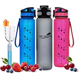DEO VOLENTE 1-Liter Motivational Water Bottle for Sports – Water Levels for Before & After Exercise - Eco-Friendly Light…