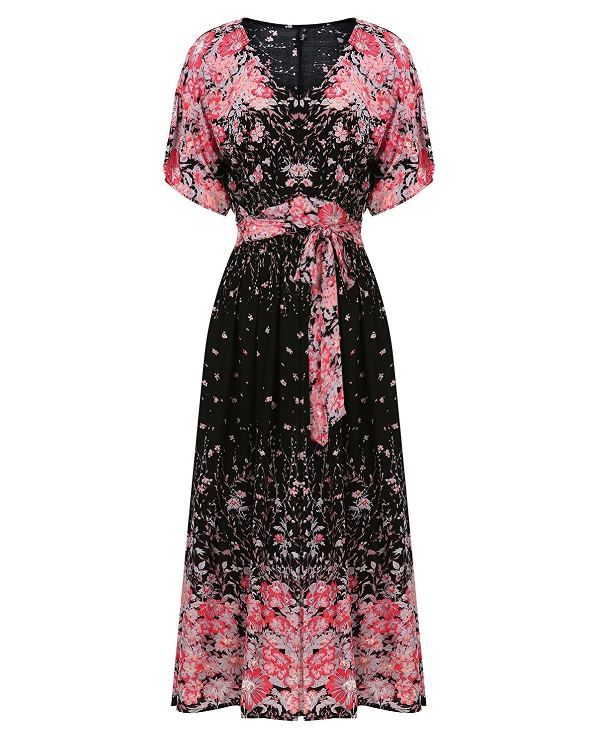 c43a482dae Material: 100% Rayon, Super soft and comfortable to wear. Design: Flower  printed maxi dress,sexy deep V neck, Split with belt,self-tie on waist can  fully ...
