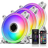 EZDIY-FAB White Moonlight 120mm RGB Case Fan with Fan Hub X and Remote,Motherboard Aura SYNC,Speed Control,Addressable…