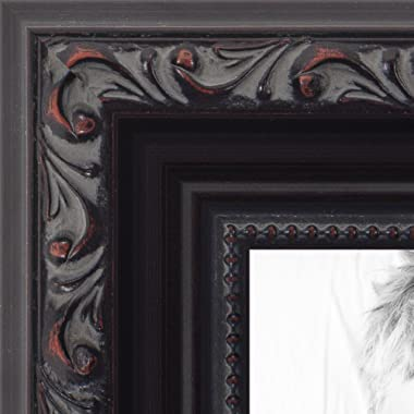 ArtToFrames 18x22 inch Black with Beads Wood Picture Frame, WOMD10188-18x22