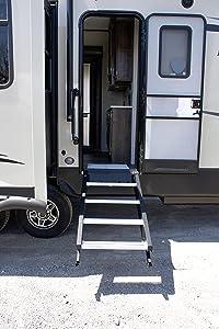 "MORryde STP-4-26-33H Strut-Assist StepAbove RV Entry Step - 4 Step, 36.5-42.5"" Height, 8"" Rise, 26"" Door Width"