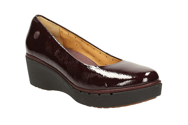 Clarks Womens Casual Clarks Un Estie Leather Shoes In Burgundy Patent