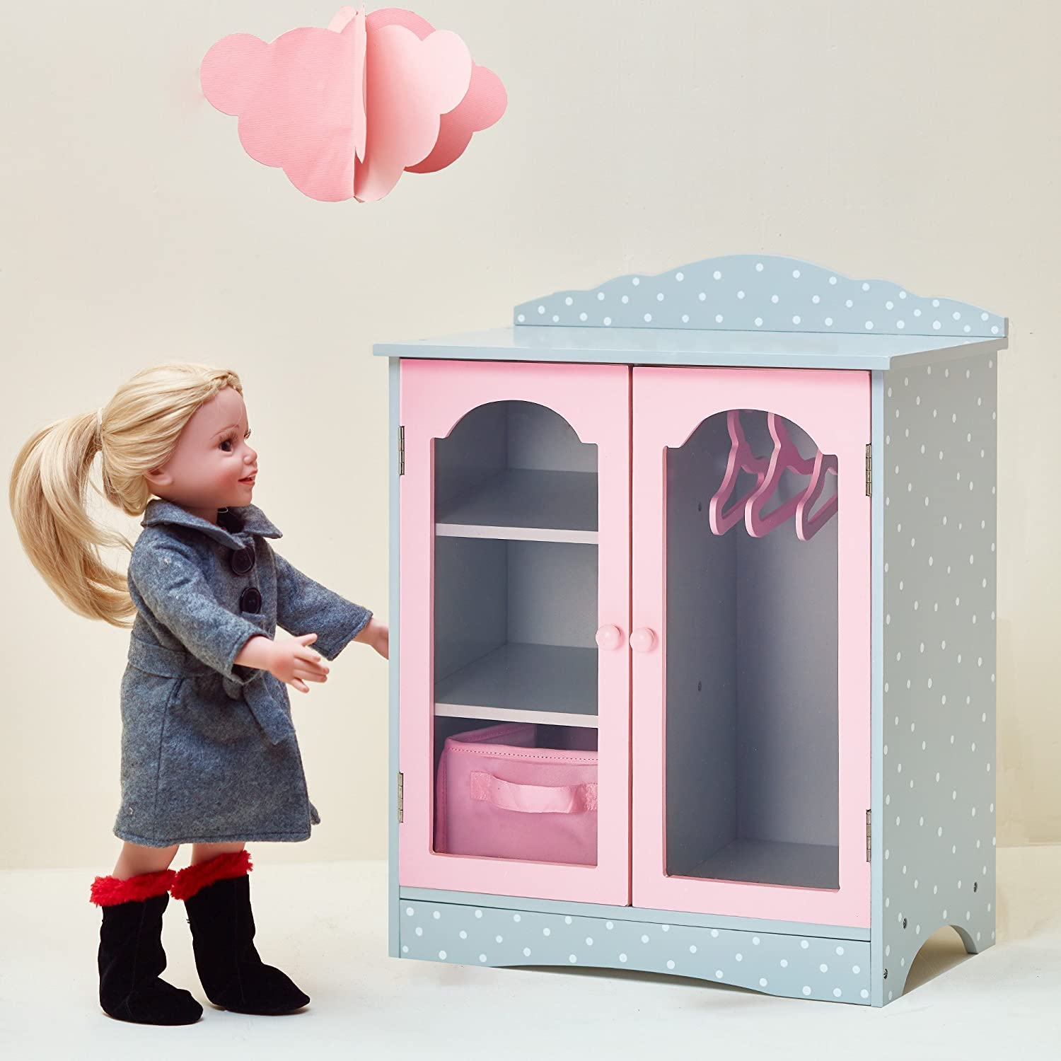   Wooden 18 inch Doll Furniture Olivias Little World Princess Fancy Wooden Closet with 3 Hangers and 1 Cubby White // Pink