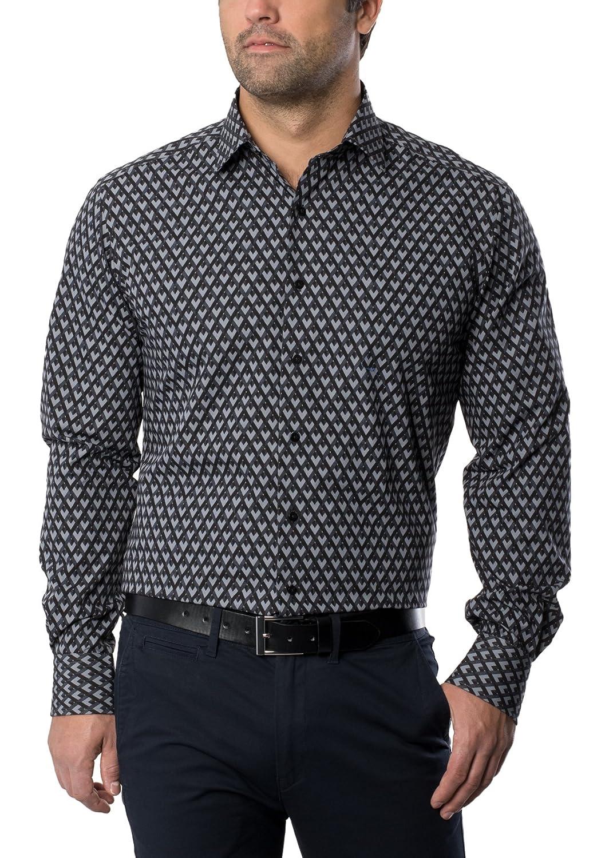 ETERNA Men's MODERN FIT long sleeve shirt black/grey grafic print