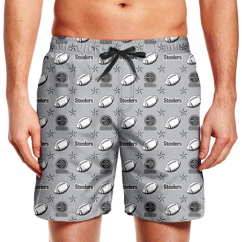 Bquiyesg Pittsburgh Steelers Slash Stripe Men Designer Workout Mesh Lining Shorts