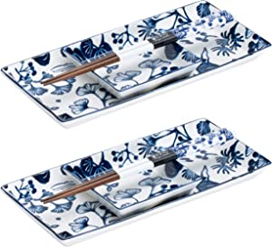 TOKYO design studio Flora Japonica 6-piece Sushi Set, 2 Premium Porcelain Plates with Matching Sauce Dishes and Bamboo Chopsticks, Decorative Gift Box, Blue and White