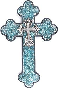 """15 3/4"""" Western Wall Cross Faux Iron Fleur De Lis Blue Broken Glass"""