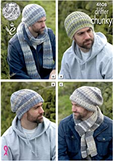 69c0b2fc198 King Cole Mens Chunky Knitting Pattern - Slouchy or Ribbed Hats   Scarf  Winter Accessories (