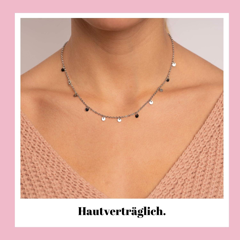 Good.Designs Coin Kette mit runden Pl/ättchen aus Edelstahl I Filigrane Halskette f/ür Frauen