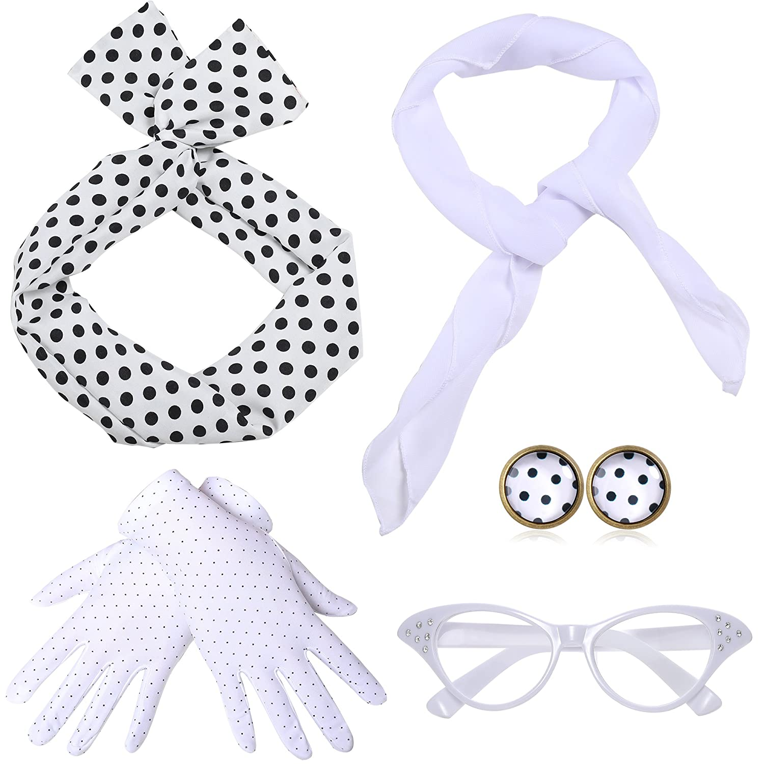 0544f60cfcb This 50s accessory set for women includes  1 bandana tie headband  1   chiffon scarf  1 cat eye glasses  1 pair of 50s dot earrings  1pair of dot  gloves.