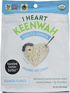 I Heart Keenwah Toasted Quinoa Flakes Hot Cereal, Plain, Unsweetened, Organic, Gluten