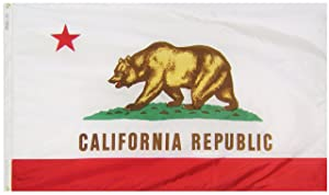 Annin Flagmakers Model 140460 California State Flag 3x5 ft. Nylon SolarGuard Nyl-Glo 100% Made in USA to Official State Design Specifications.