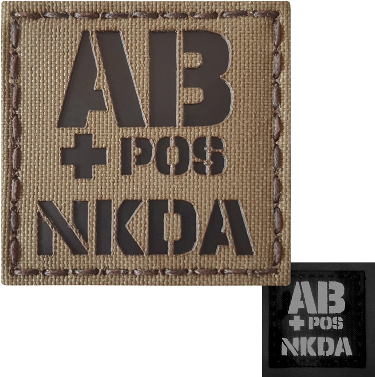 Blood Type 2x2 Arid Tan Tactical Morale Touch Fastener Patch IR A-TACS AU OPOS NKDA O