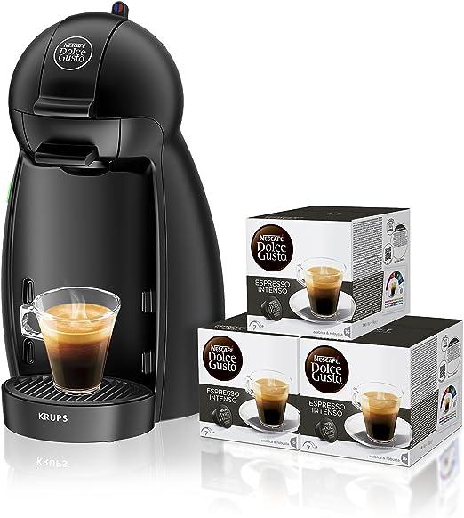 Pack Krups Dolce Gusto Piccolo KP1000 - Cafetera de cápsulas, 15 bares de presión, color negro mate + 3 packs de café Dolce Gusto Espresso Intenso: Amazon.es: Hogar