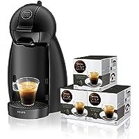 Pack Krups Dolce Gusto Piccolo KP1000 -  Cafetera de cápsulas, 15 bares de presión, color negro mate + 3 packs de café Dolce Gusto Espresso Intenso