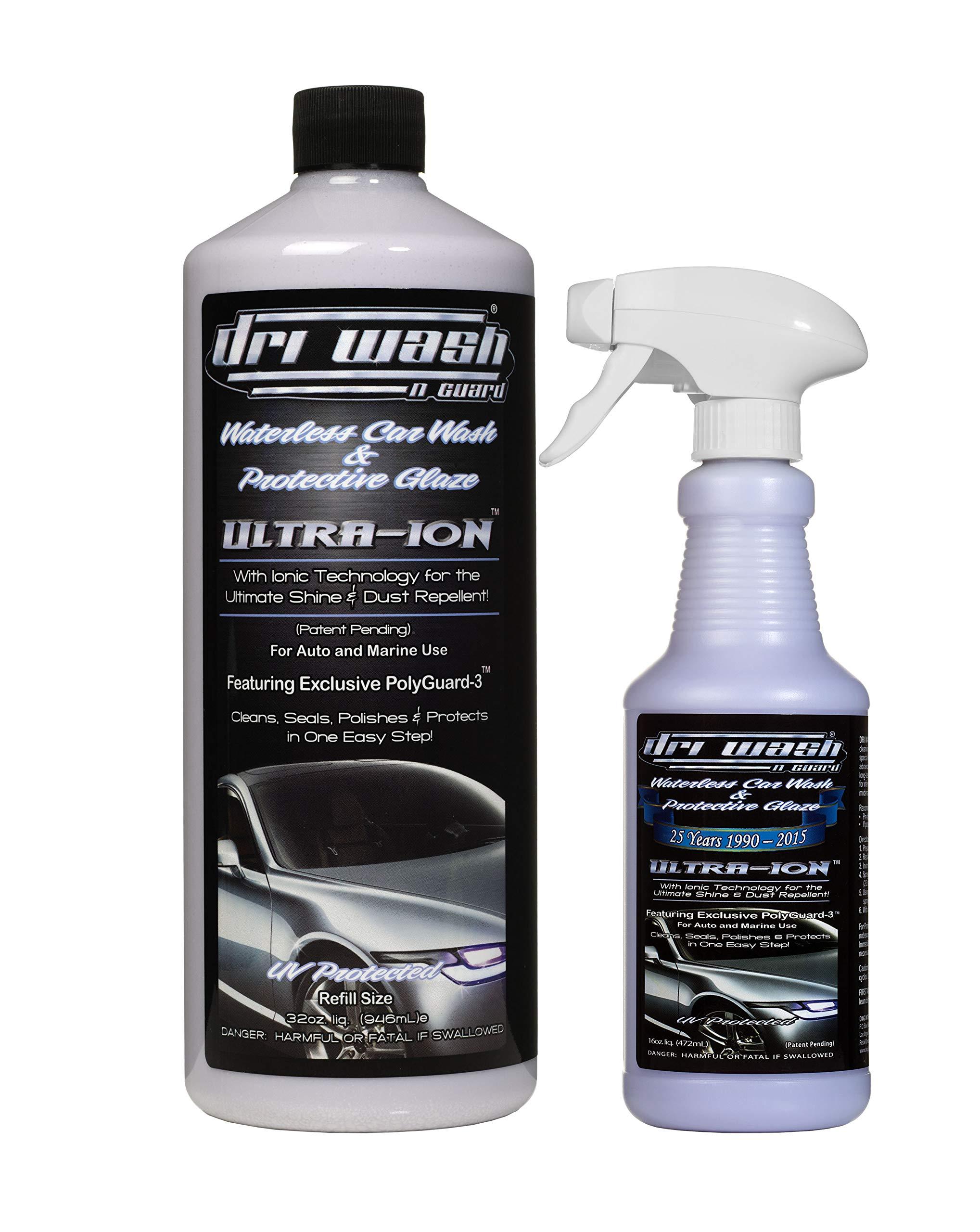 Dri Wash 'n Guard Ultra-Ion 32oz Waterless Car Wash w/Filled 16oz Spray Bottle
