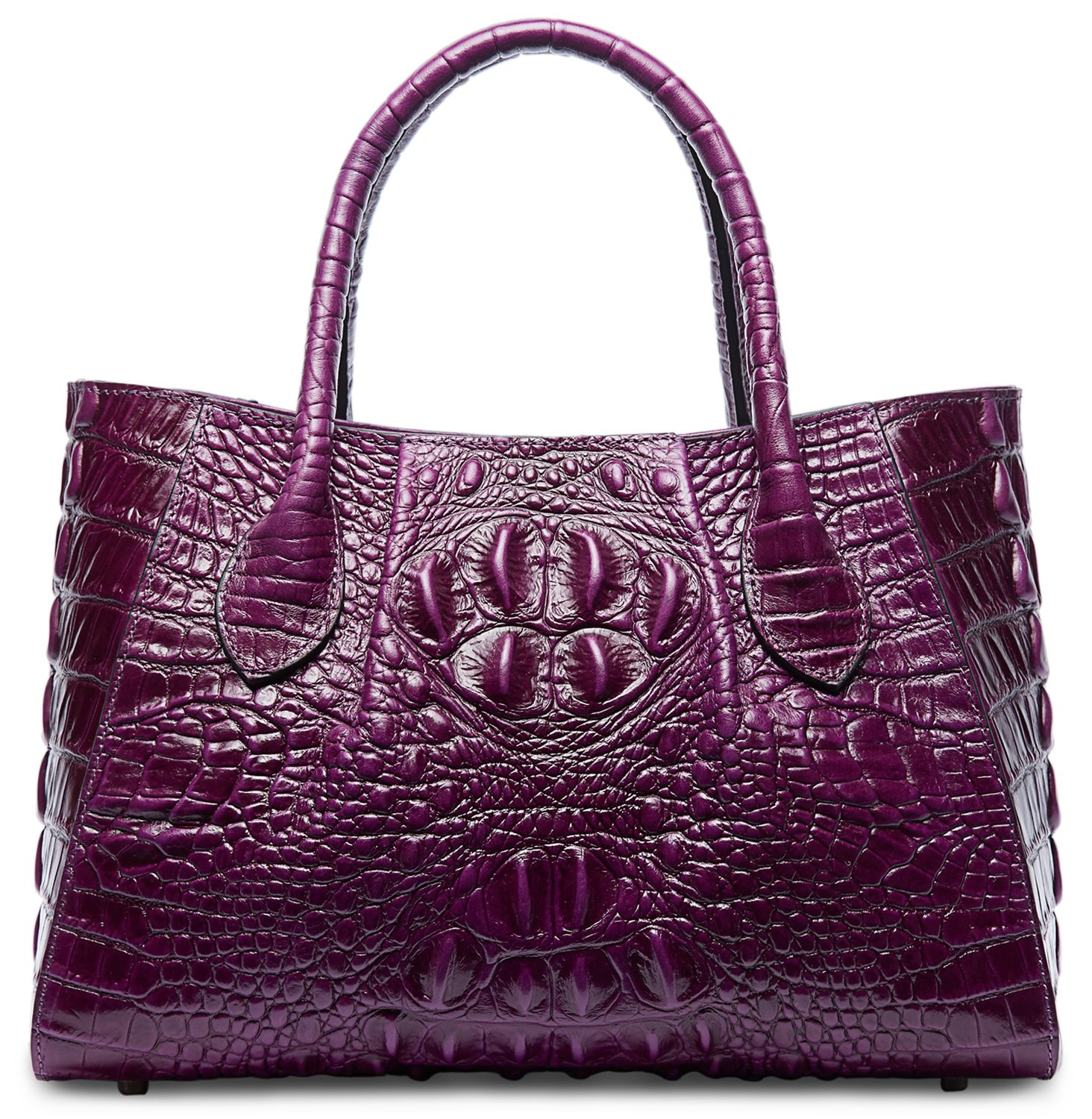 PIFUREN Designer Crocodile Top Handle Handbags Womens Genuine Leather Tote Bags M1107 (Small Size, Small Size Violet)