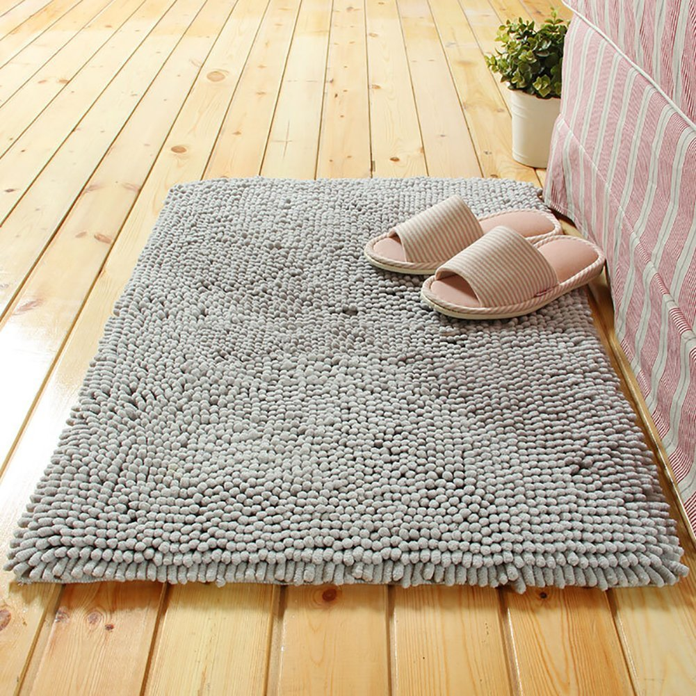 GHGMM Living Room Bedroom Study Room Coffee Table Floor Mat, Do Not Fade Super Absorbent Machine Washable Easy To Clean Non-Slip Mat, Thick Chenille Mat,Gray,5080Cm
