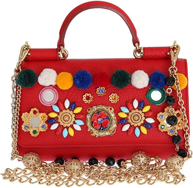 395d8b62bd38 Amazon.com  Dolce   Gabbana - Purse VON Red Leather Crystal Carretto ...