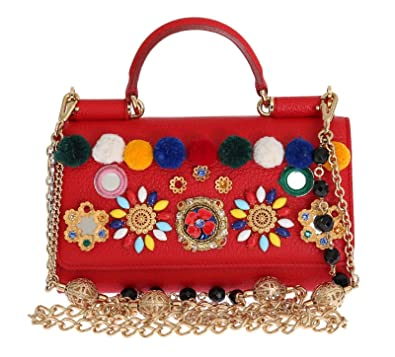 3c1412db50 Dolce   Gabbana - Purse VON Red Leather Crystal Carretto POM POM   Amazon.co.uk  Shoes   Bags