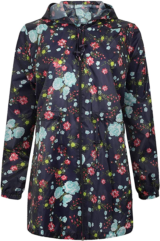 New Ladies Floral Printed Showerproof Hooded Mac Parka Fishtail Raincoats S-2XL