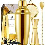 Homestia Gold Cocktail Shaker Set Bartender Kit Stainless Steel 24oz Martini Shaker, Muddle Spoon, Double Jigger, Fine…