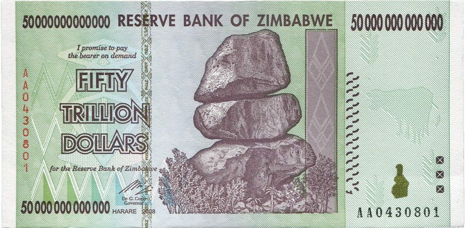 PTDirect, LLC. Zimbabwe 50 Trillion Dollars 2008, World Inflation Record, Currency Banknotes - P90 AA