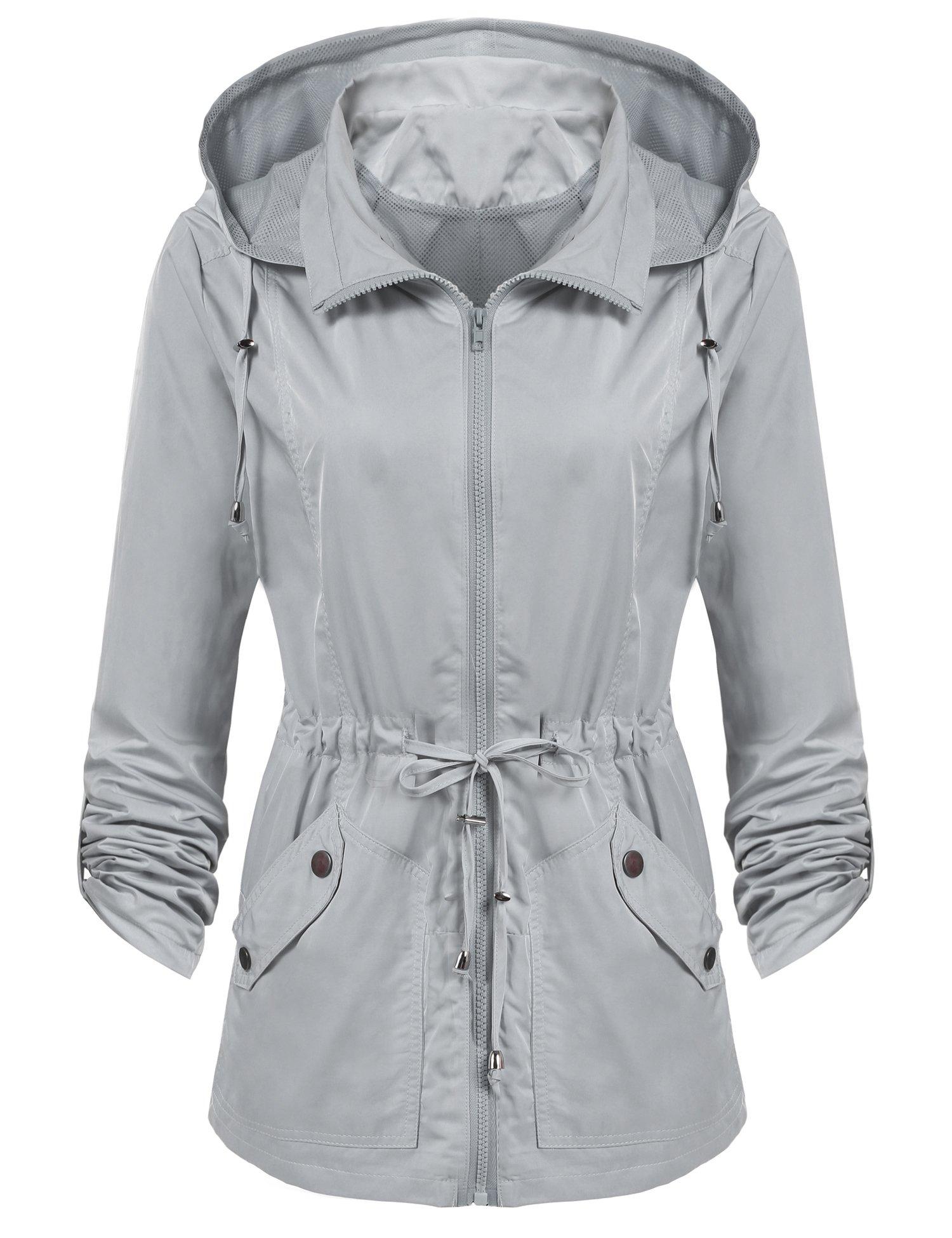 ANGVNS Women's Waterproof Lightweight Rain Jacket Anorak with Detachable Hood by ANGVNS (Image #2)