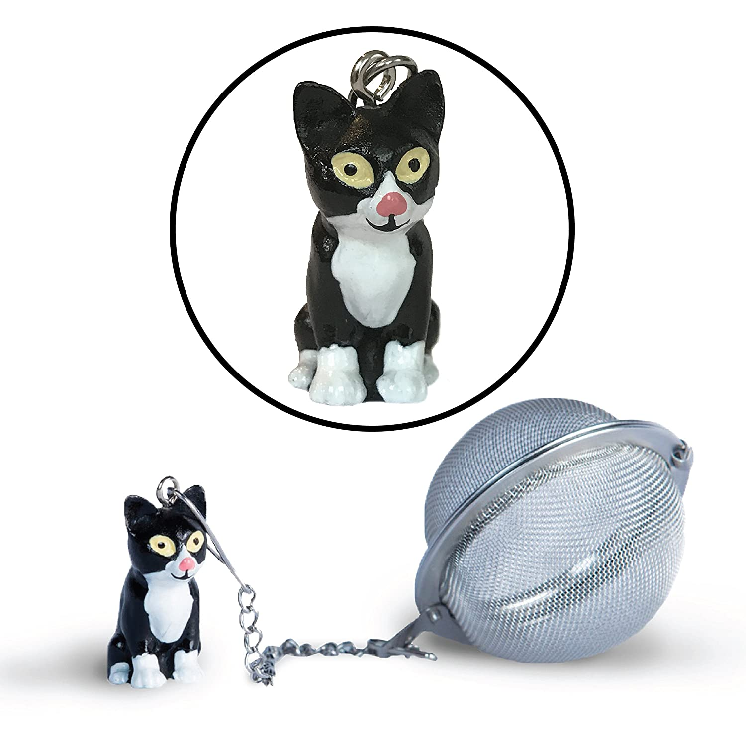 Cat Tea Ball Infuser – Black Cat | Stainless Steel Strainers - Great Gift for Tea and Cat Lovers by Simply Charmed