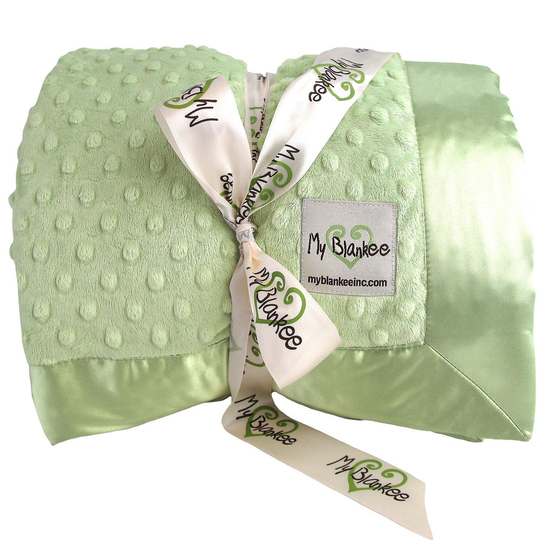 My Blankee Minky Dot Super Queen Blanket with Flat Satin Border, Sage Green, 96'' X 94''