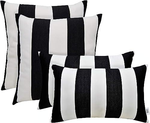 RSH D cor Set of 4 Indoor Outdoor Square Rectangle Lumbar Throw Pillows Made of Sunbrella Cabana Classic 20 x 12 20 x 20