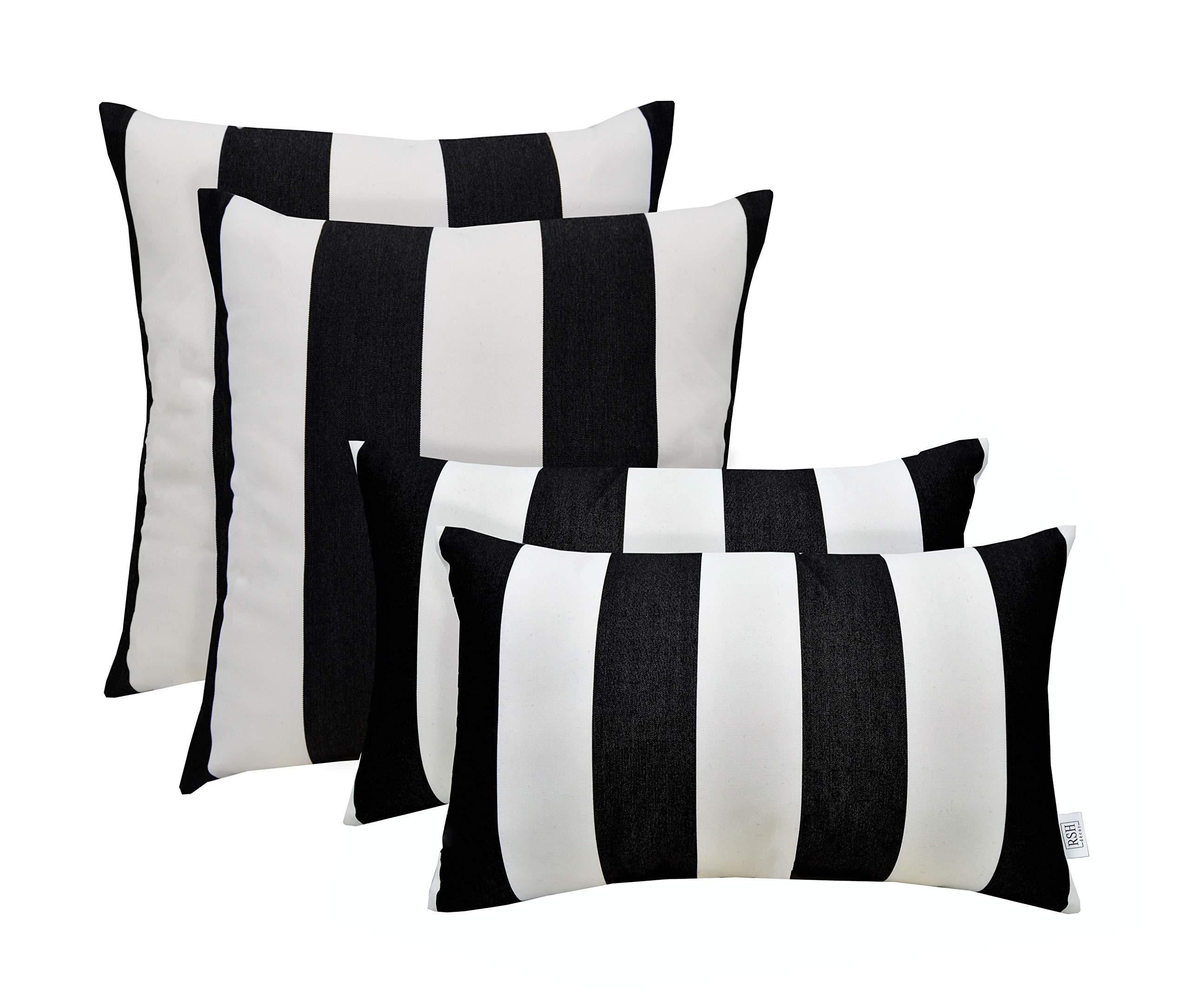 RSH Décor Set of 4 Indoor/Outdoor Square & Rectangle Lumbar Throw Pillows Made of Sunbrella Cabana Classic (20'' x 12'' & 20'' x 20'')