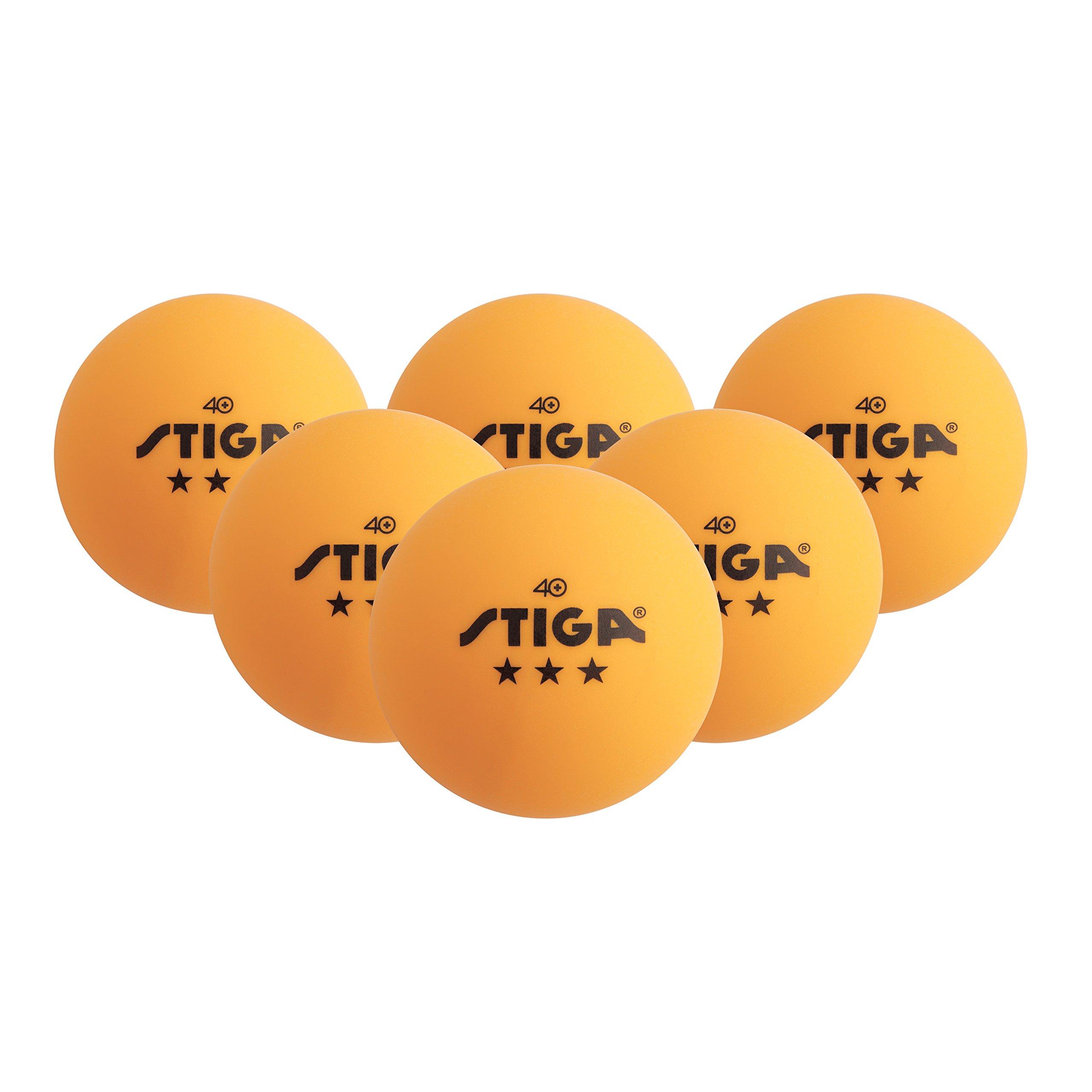 STIGA 3-Star Superior-Quality Orange Table Tennis Balls for Tournament Play (6-Pack)