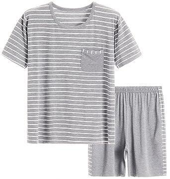 8b604c9769bb Latuza Men's Summer Sleepwear Striped Design Casual Pajama Set S White  Striped