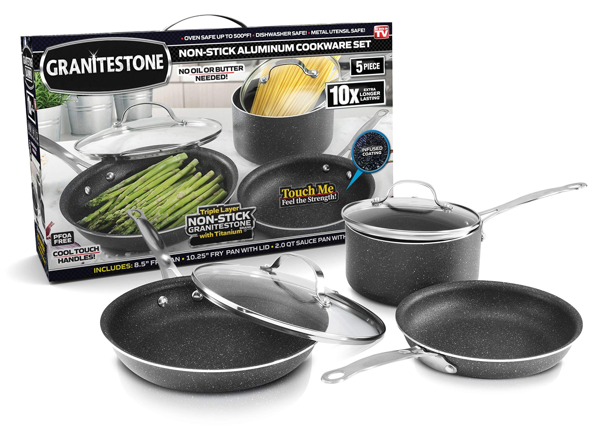 GRANITESTONE 5 Piece Cookware Set, Scratch-Proof, Nonstick Granite-coated, PFOA-Free As Seen On TV