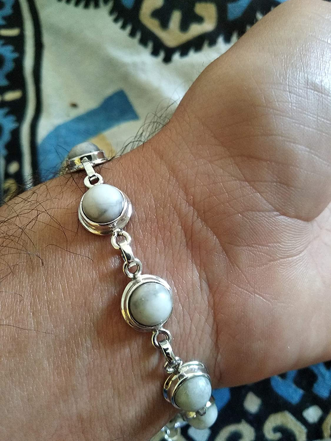 White Turquoise Link Bracelet Made in USA SoCute925 White Turquoise Bracelet White Buffalo Turquoise Jewelry Sterling Silver Bracelet