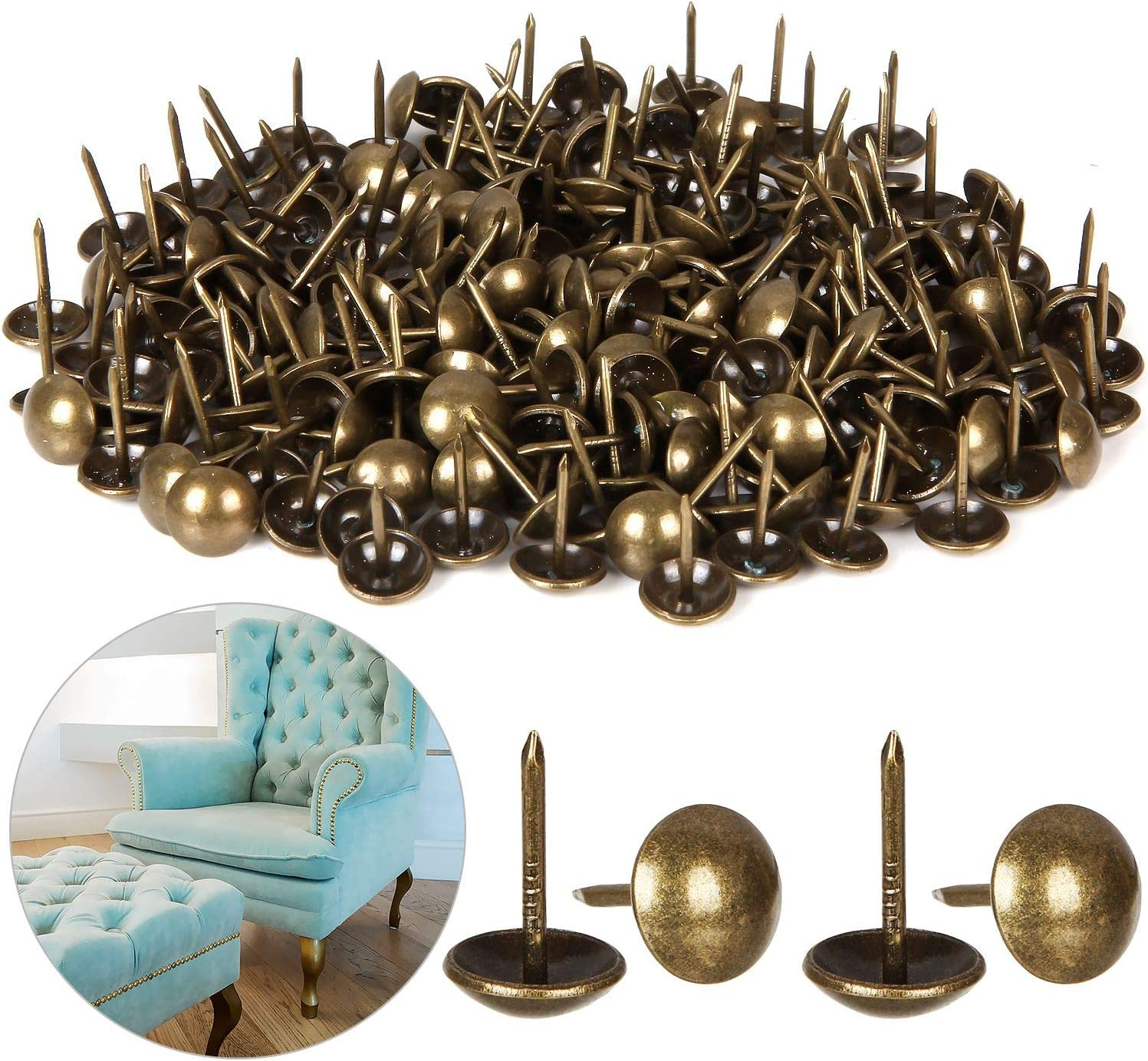 """500 Count Upholstery Tacks 7/16"""", Upholstery Nails, Furniture Nails Pins for Decorative Furniture or DIY Project"""