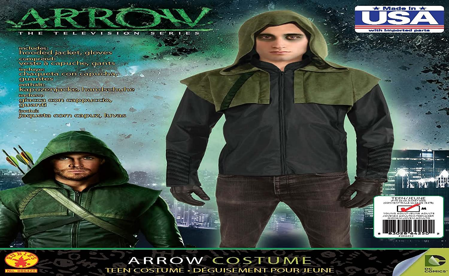 Amazon.com: Rubies Arrow Deluxe Hoodie and Gloves, Black, Teen: Clothing