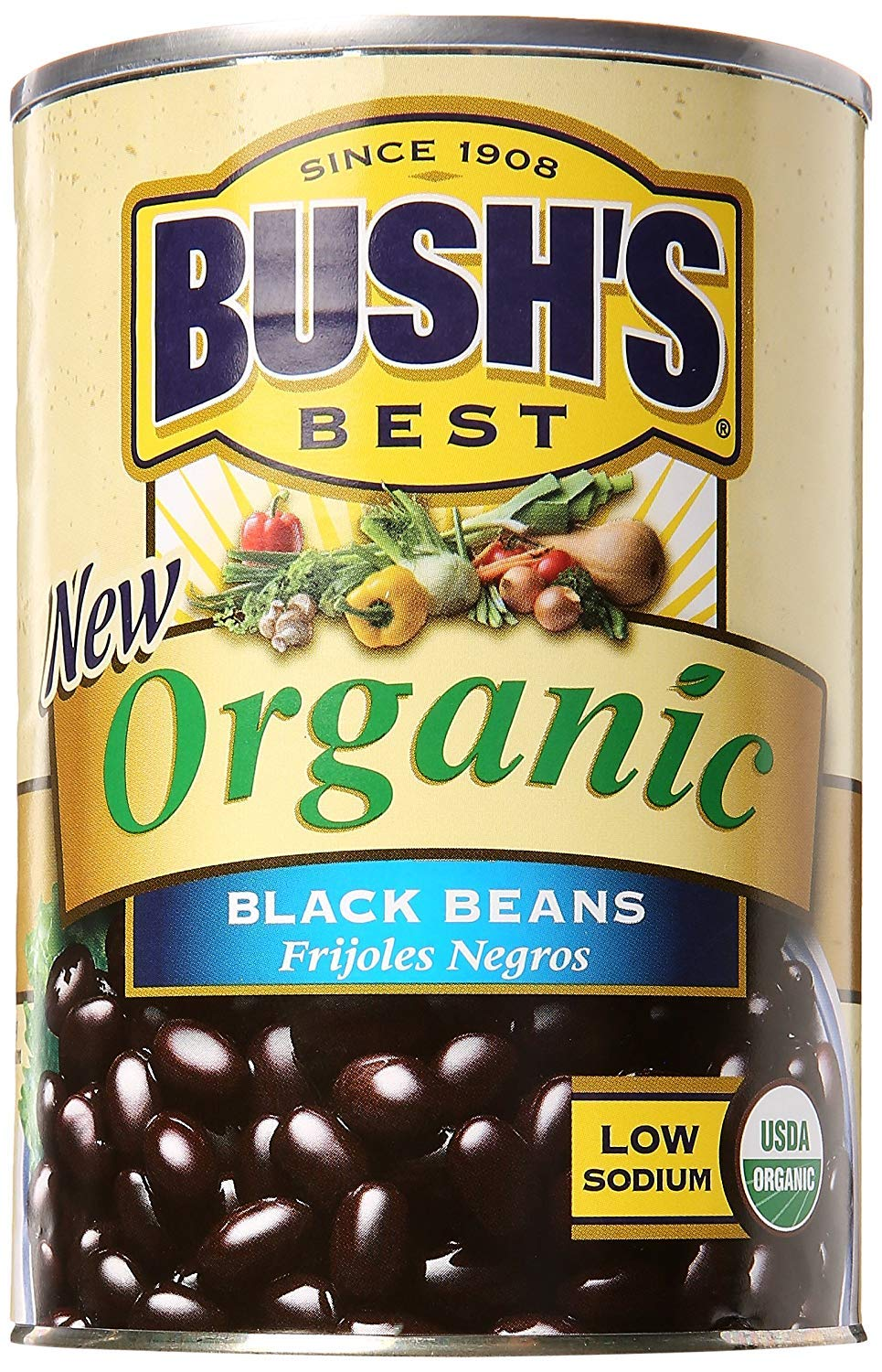 BUSH'S BEST Organic Beans, 15 Ounce Can ,Canned Beans,USDA Certified Organic, Source of Plant Based Protein and Fiber, Low Fat, Gluten Free (12)